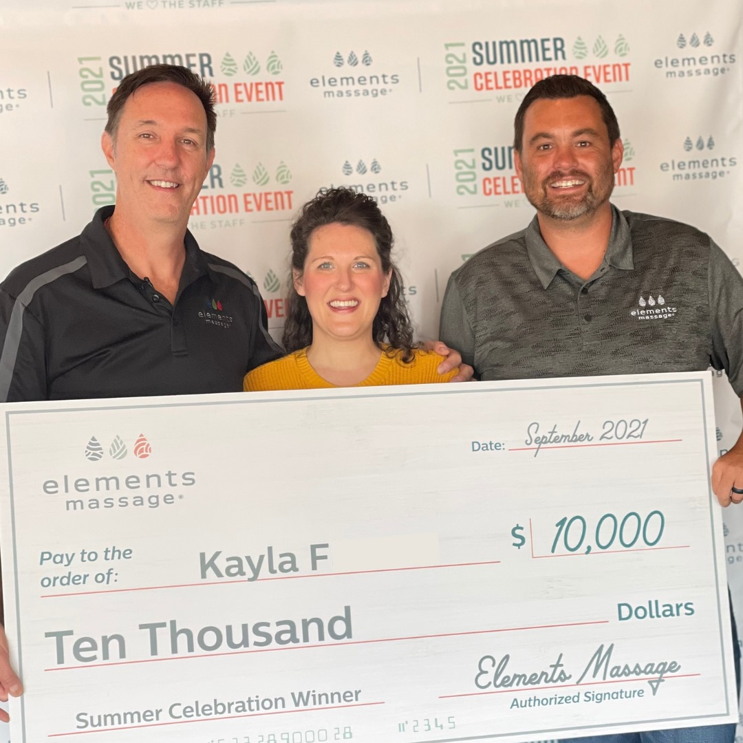 The Elements Massage® Brand Ends Summer of Celebration with  a $10,000 Cash Award to One of the Brand's Massage Therapist